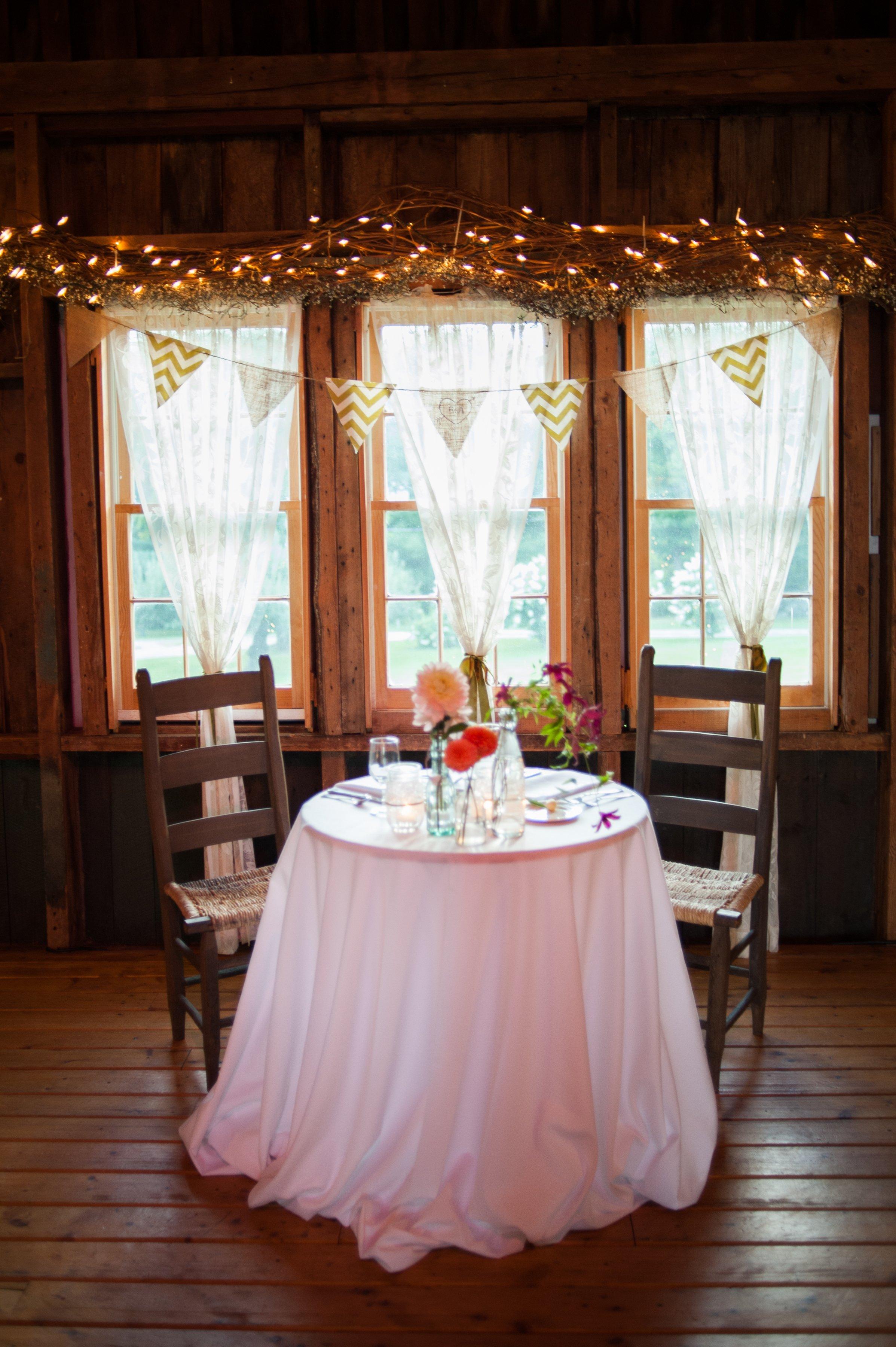wedding sweatheart table