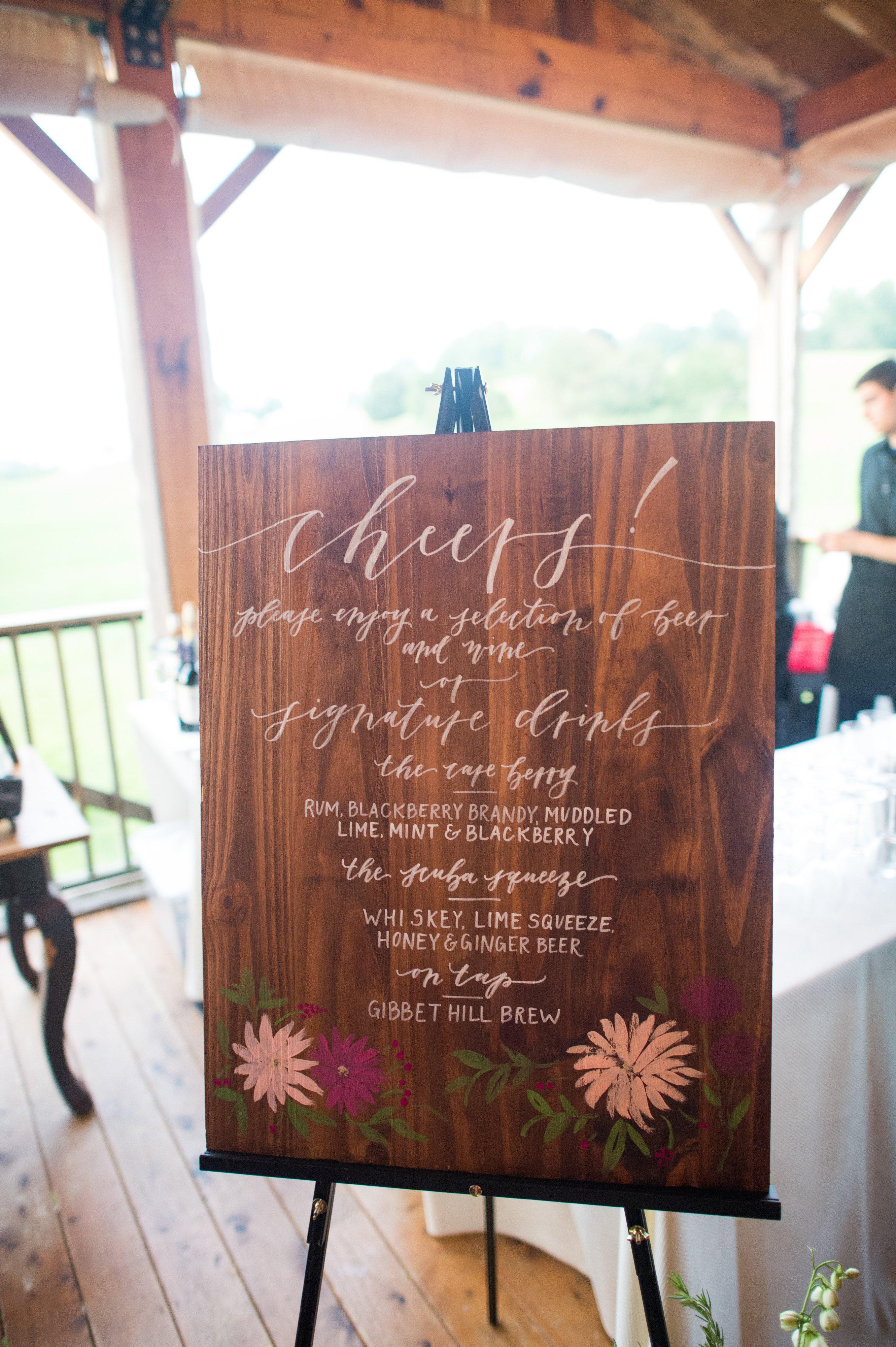 wedding menu sign