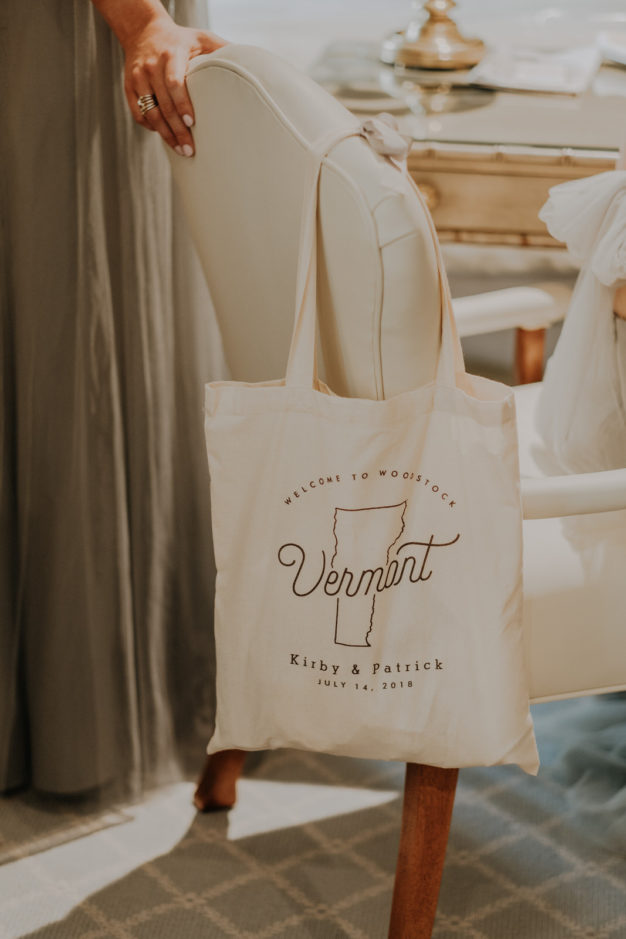 Guest welcome bags from Vermont wedding