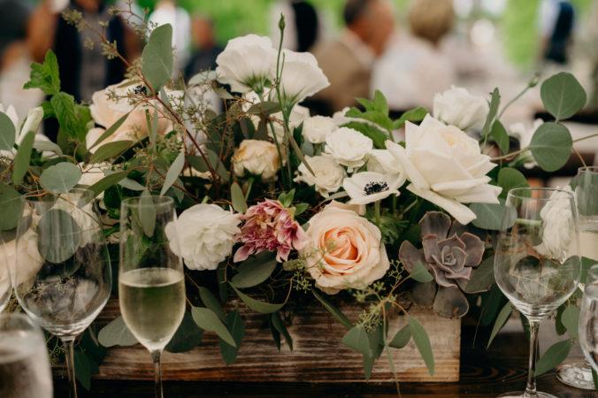 Succulent and Summer Flower Centerpieces