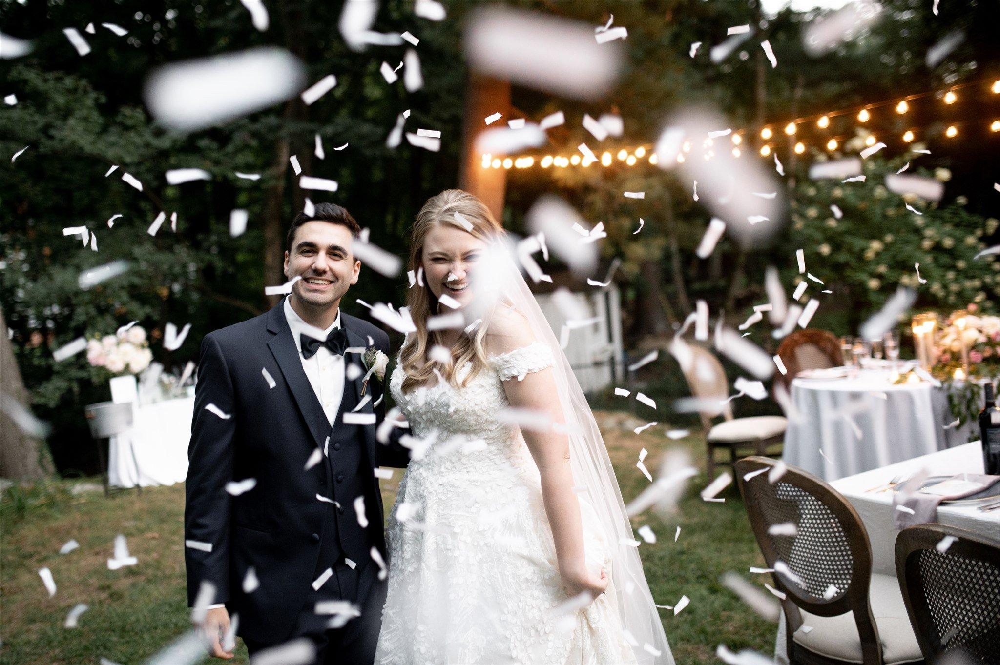 backyard at home micro wedding in Massachusetts