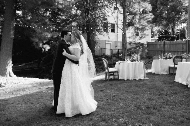 bride and groom at backyard wedding near Boston