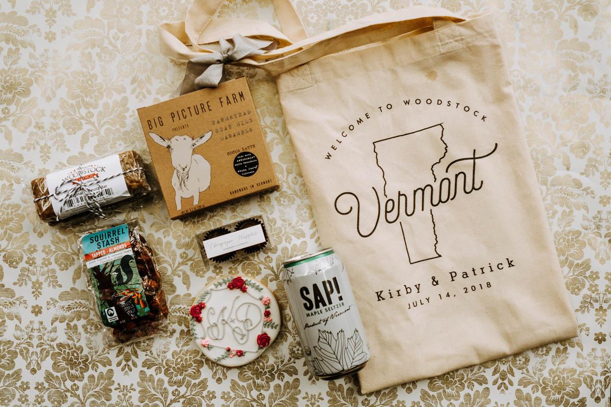 Vermont destination wedding welcome bag