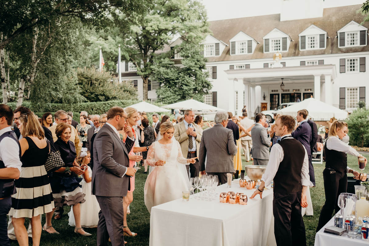 wedding cocktail hour on Woodstock Inn front lawn
